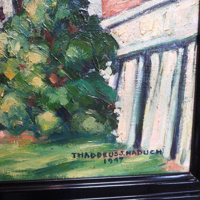 Original American Urban Scene Oil Painting by Thaddeus J. Haduch, 1947 For Sale In Los Angeles - Image 6 of 8