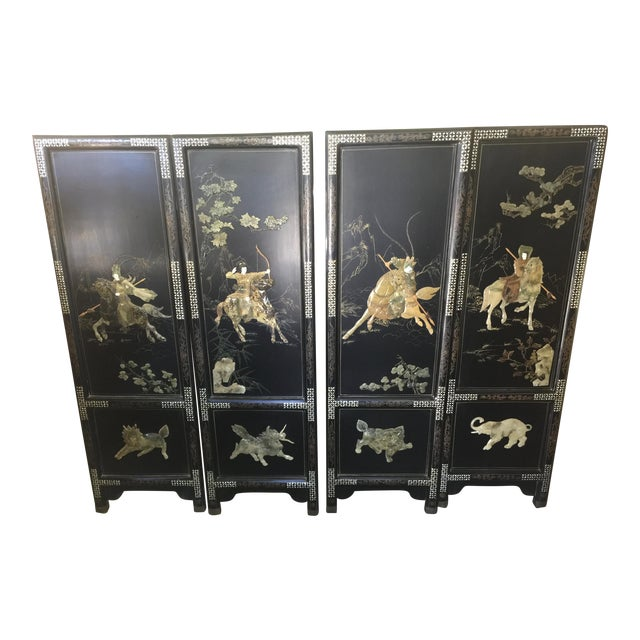 Chinese Hardstone Decorated Panels Set of Four For Sale