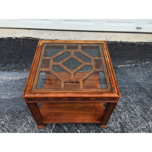 Chinese Chippendale Wood Fretwork Side Table - Image 6 of 7