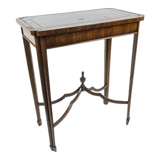 Maitland Smith Leather Top Cocktail Side Table For Sale