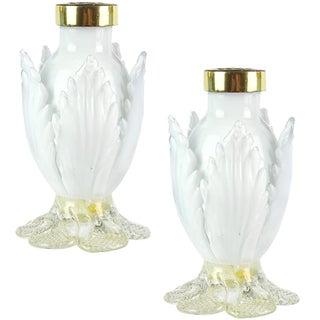 Salviati Murano White Gold Flecks Italian Art Glass Mid Century Salt Pepper Shaker Set For Sale