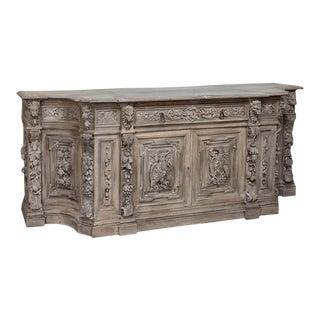 19th Century Monumental Renaissance Stripped Oak Buffet For Sale
