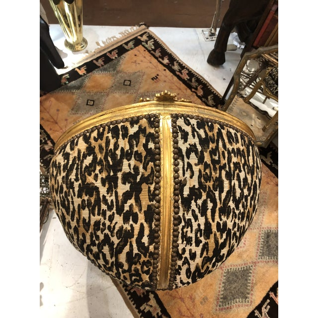 Late 18th Century 18th Century Antique French Louis XV Porter Child or Pet Chair With Leopard & Rivet Upholstery For Sale - Image 5 of 13