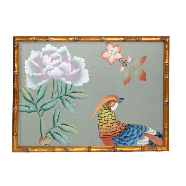 Wood Vintage Hand-Painted Chinoiserie Wallpaper Remnant Painting of a Pheasant on Celedon Silk For Sale - Image 7 of 7