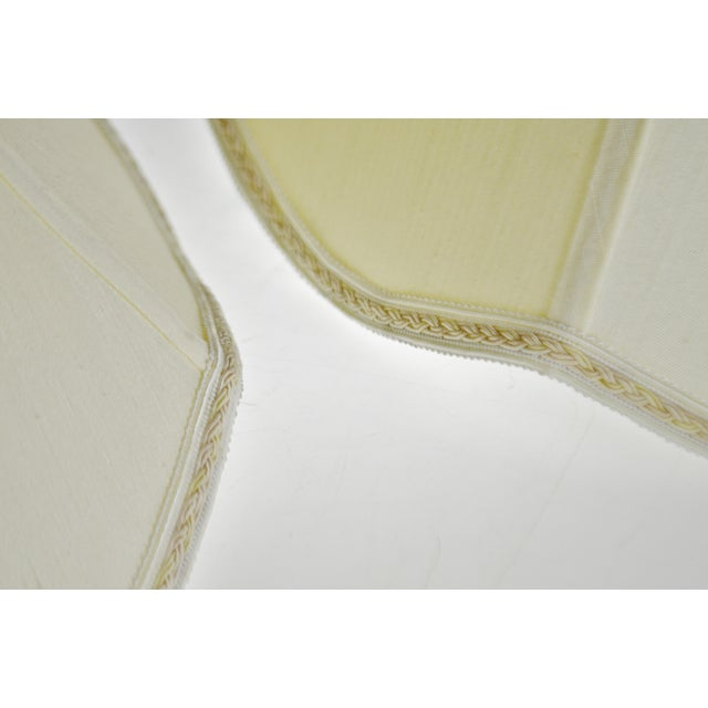 White Vintage Bell Shape Scalloped Edge Fabric Lamp Shades - a Pair For Sale - Image 8 of 10