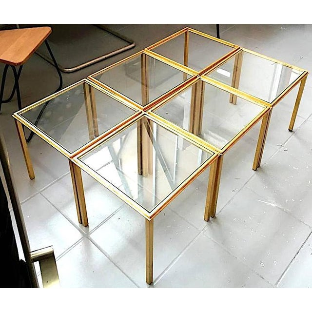 Roger Thibier Spectacular Gold Leaf Wrought Iron Big Coffee Table Made of 6 Unit For Sale - Image 6 of 6