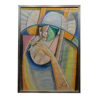 Hugo Scheiber -1930s Cubist Painting, Portrait of a Stylish Woman For Sale