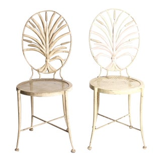 Vintage Wheat Themed Metal Chairs - a Pair