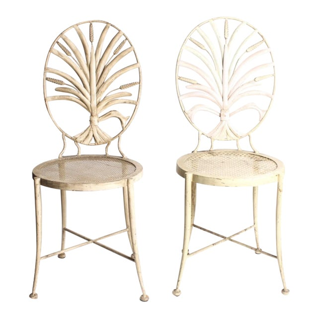 Vintage Wheat Themed Metal Chairs - a Pair - Image 1 of 9