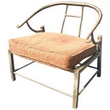 Image of Mastercraft Asian Inspired Faux Bamboo Brass Lounge Chair, Midcentury For Sale