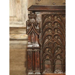 Neo-Gothic Walnut Wood Table Trunk From France, Circa 1860 Preview