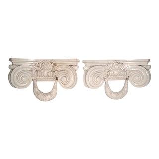 19th C. Carved Italian Corbels Shelf Brackets - Pair