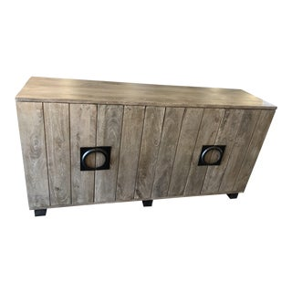 Classic Home Gray Wood Rustic Sideboard With Semicircle Iron Pulls For Sale