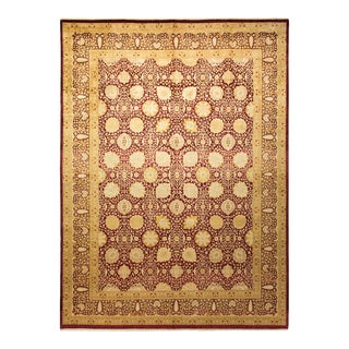 """Mogul, One-Of-A-Kind Hand-Knotted Area Rug - Red, 9' 3"""" X 12' 6"""" For Sale"""