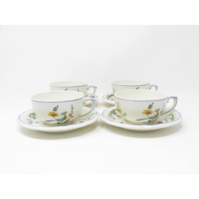 Vintage Oiseau De Paradis by Faiencerie De Gien Cups & Saucers - 4 Sets For Sale In Chicago - Image 6 of 13
