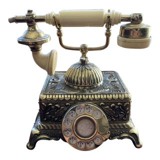 Antique Victorian Brass Gold Gilded Telephone For Sale