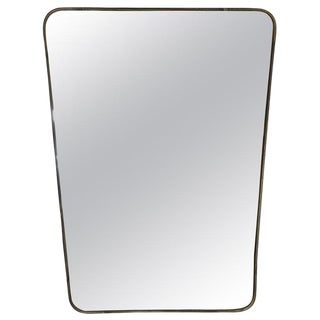 Minimal Brass Mirror, Italy 1950s For Sale