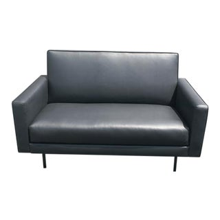 Restored Early Edition Black Leather Knoll Settee For Sale