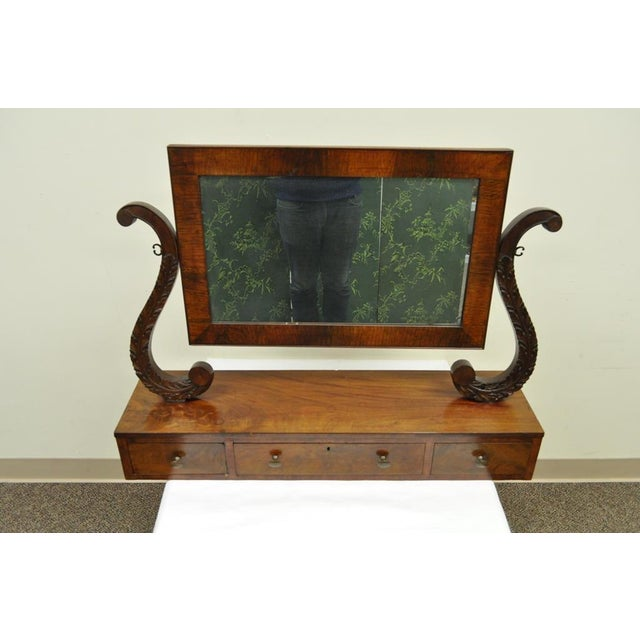 Empire Furniture 19th C. American Empire Carved Mahogany Shaving Vanity Mirror For Sale - Image 4 of 13