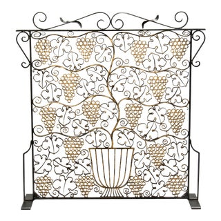 French Art Deco Iron Grill Fireplace Screen For Sale