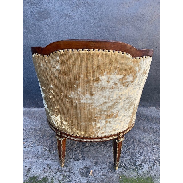 19th Century Vintage French Bronze Mounted Barrel Chair For Sale - Image 12 of 13