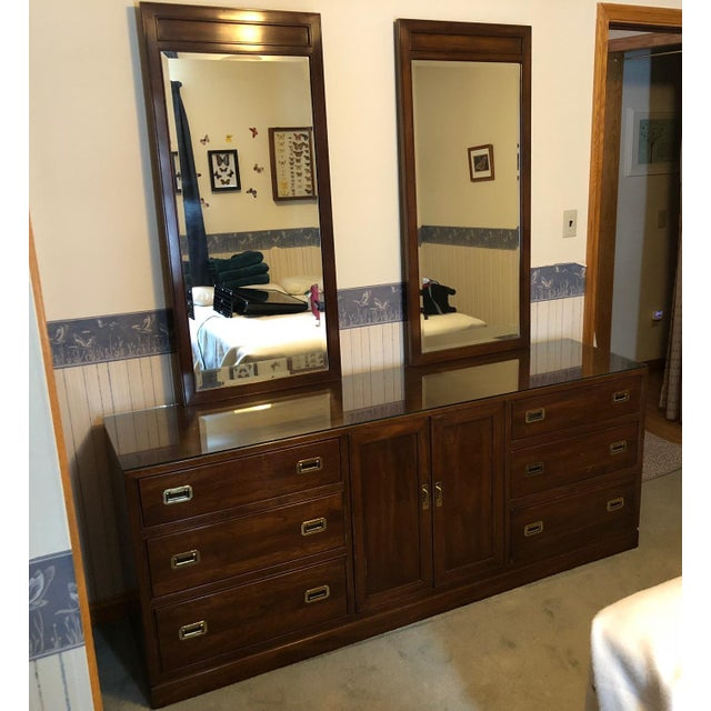 Brown Vintage Ethan Allen Canova Cherry Campaign Style Dresser With Mirrors For Sale - Image 8 of 8