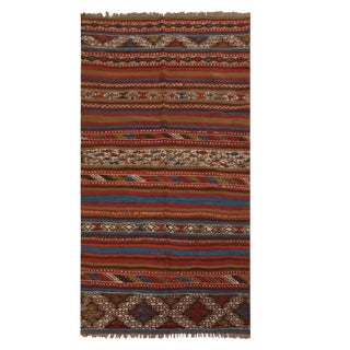 Vintage Bergama Geometric Brown and Red Wool Kilim Rug With Blue and White Accents For Sale