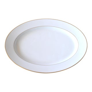 Noritake Oval White Gold Serving Platter Porcelain Gold Edge Plate For Sale