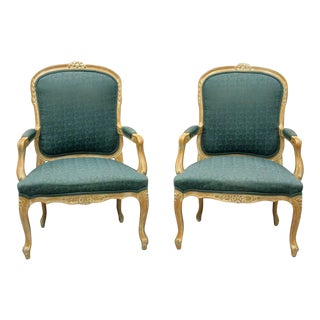 Vintage Mid Century Country French Louis XV Style Living Room Arm Chairs- A Pair For Sale