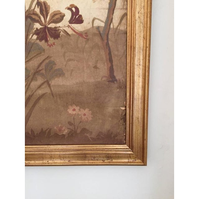 Chinoiserie Large Decorative Painted Panel in Gilt Frame For Sale - Image 3 of 7