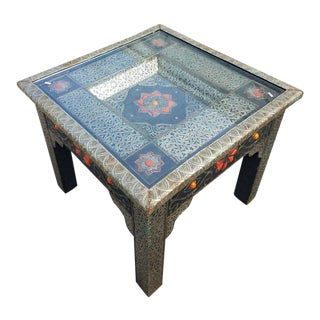 Moroccan Metal Inlay and Camel Bone Square Side Table For Sale