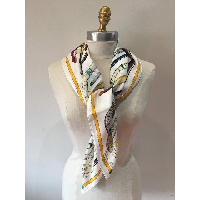 Hermes Les Cannes Silk Scarf in White in very good condition. Original silk screen design c2012 by Virginie Jamin features...