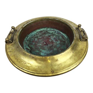 Antique French Copper Wash Bowl with Brass Trim & Handles