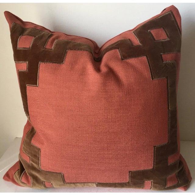 Modern Linen & Velvet Accent Pillow-Feather Insert For Sale - Image 3 of 10