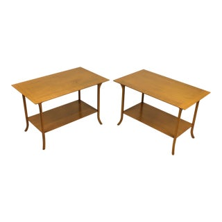 t.h. Robsjohn Gibbings Bleached Mahogany Sabre Leg Side Tables for Widdicomb - A Pair For Sale