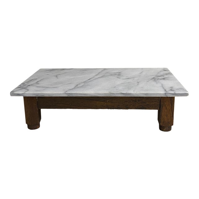 19th Century Carrera Marble Top Riser Pedestal For Sale