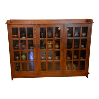 Stickley Bookcase With Glass Doors For Sale