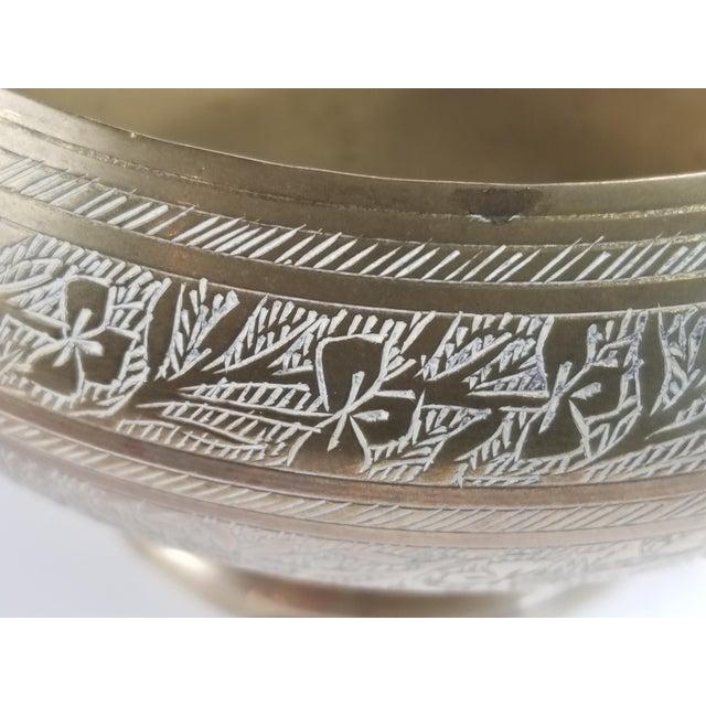 Vintage Indian Hand Tooled Etched Solid Brass Pedestal Bowl For Sale - Image 4 of 10
