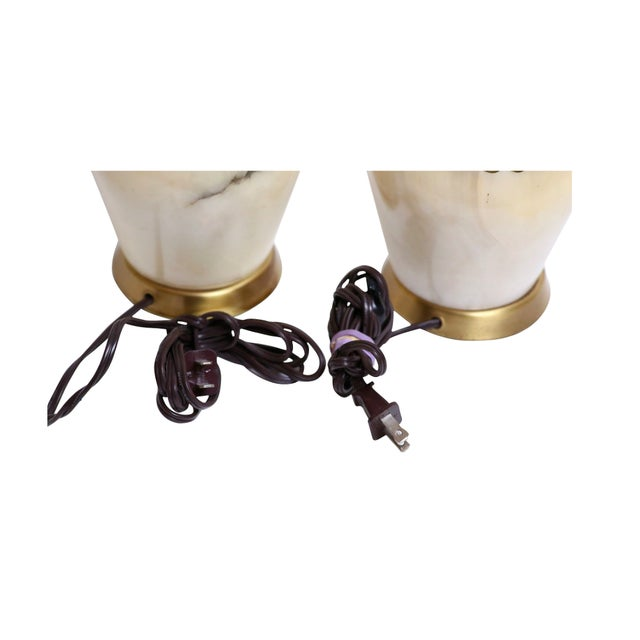 Mid-Century Italian Marble & Brass Lamps - A Pair - Image 4 of 4