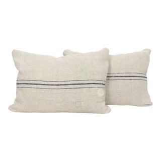 Antique Homespun Linen Grain Sack Pillow Covers - a Pair For Sale