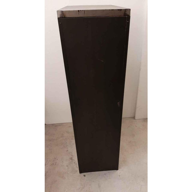 Late 20th Century Vintage Steel Filing Cabinet With Brass Handles For Sale In New York - Image 6 of 7
