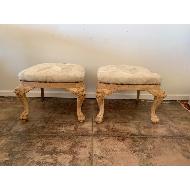 A Pair of capricious antique lion head and feet carved Oak, lovingly restored to a natural finish and bone colored chevron...