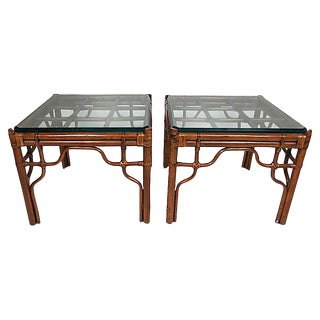 Rattan and Glass Side Tables, Pair For Sale