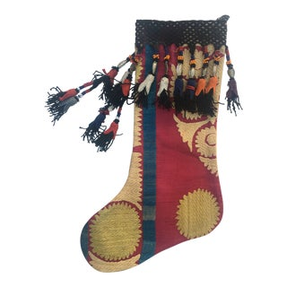 Antique Suzani Christmas Stocking For Sale