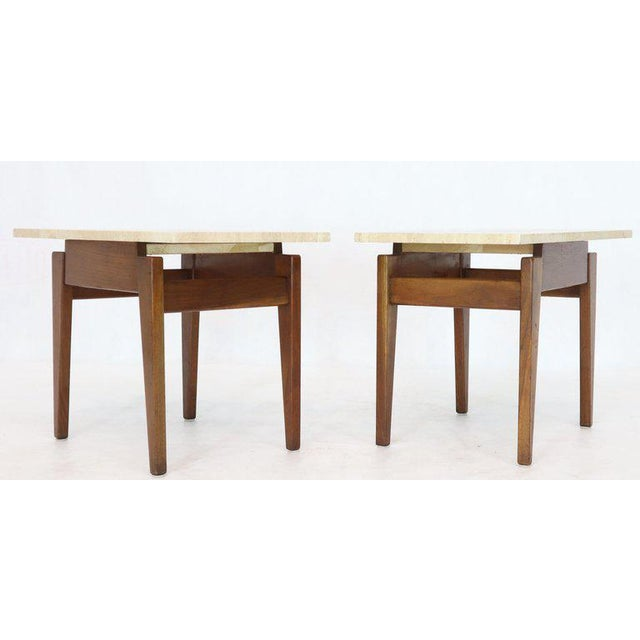 Stone Risom Walnut End Tables W/ Wedge Shape Travertine Marble Tops - A Pair For Sale - Image 7 of 13