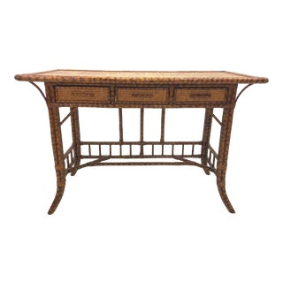 Vintage Boho Chic Tortoise Scorched Fretwork Chinese Chippendale Bamboo Desk For Sale