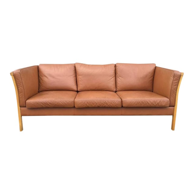 Vintage Danish Leather Sofa by Stouby For Sale - Lovely Vintage Danish Leather Sofa By Stouby DECASO