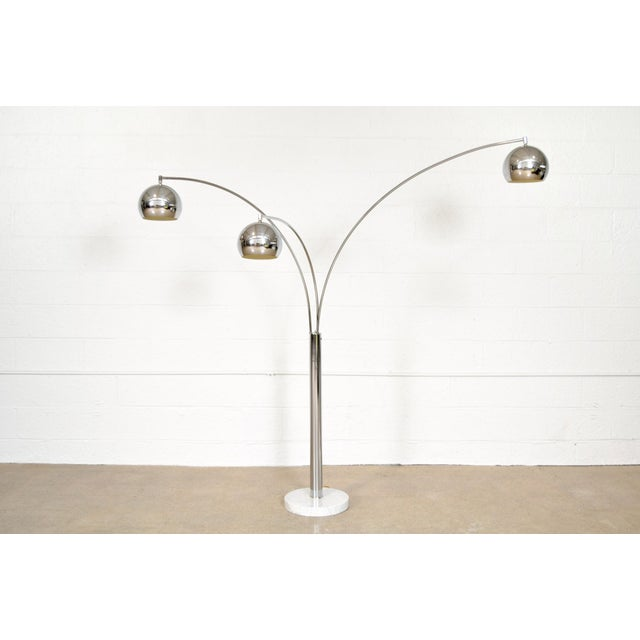 Mid Century Sonneman Style 3 Light Chrome Arc Floor Lamp with Marble Base - Image 4 of 11