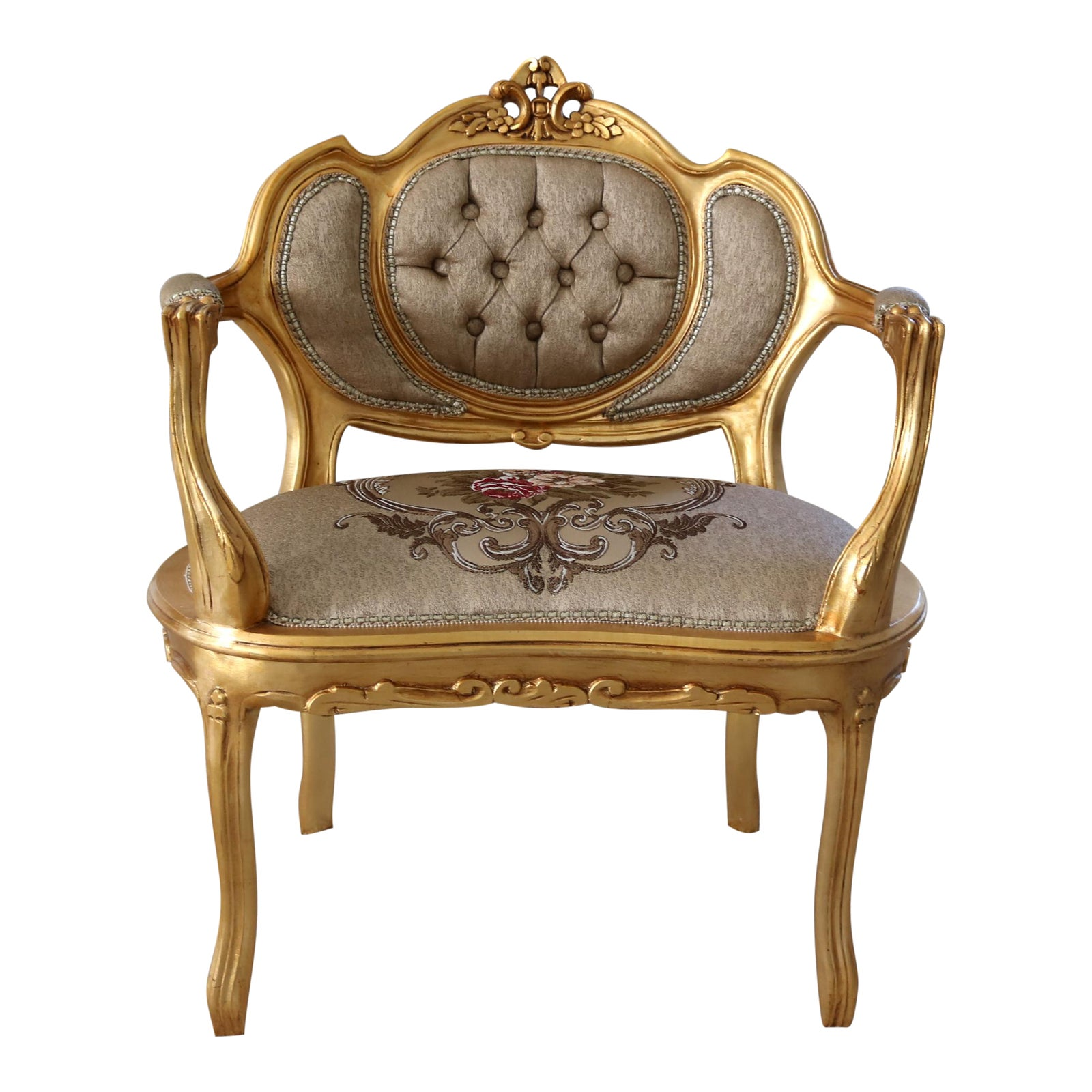 Modern louis xv arm chair chairish