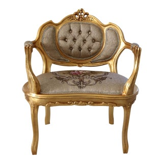 Modern Louis XV Arm Chair, French Chair, Handmade, Antique Vintage Furniture Reproduction , Victorian For Sale